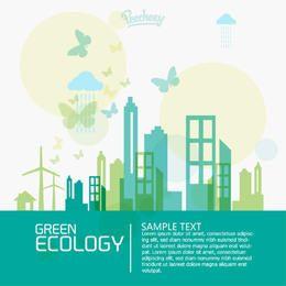 Concepto de ciudad de ecología mínima plana