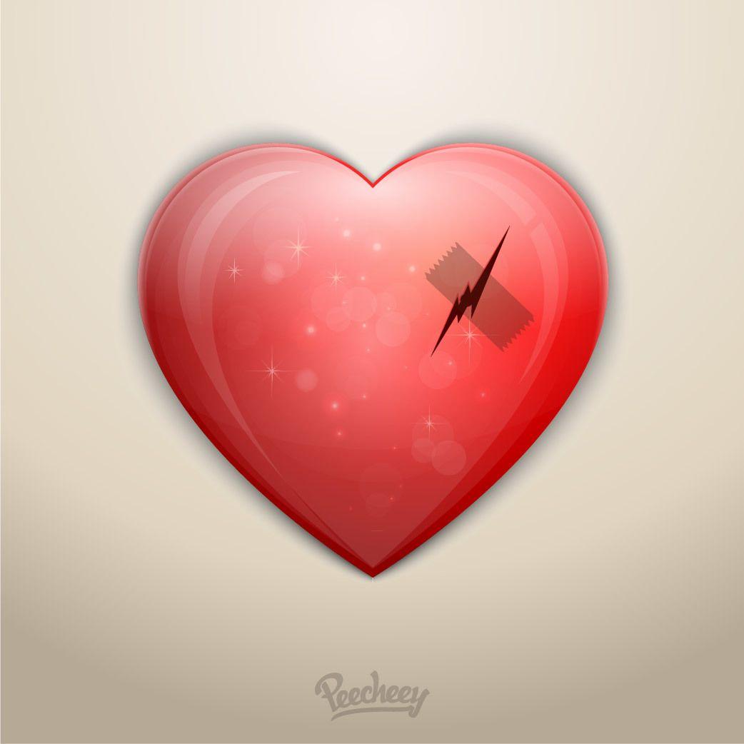 Broken Heart Love Scratch Tape Vector Download