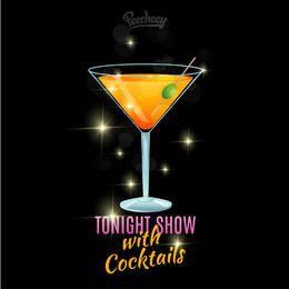 Cartel de la demostración de la noche del vidrio de cóctel