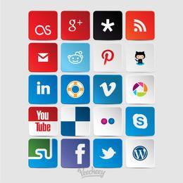 Colección de iconos de redes sociales de colores