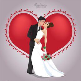 Hochzeitspaare in der Liebe küssen