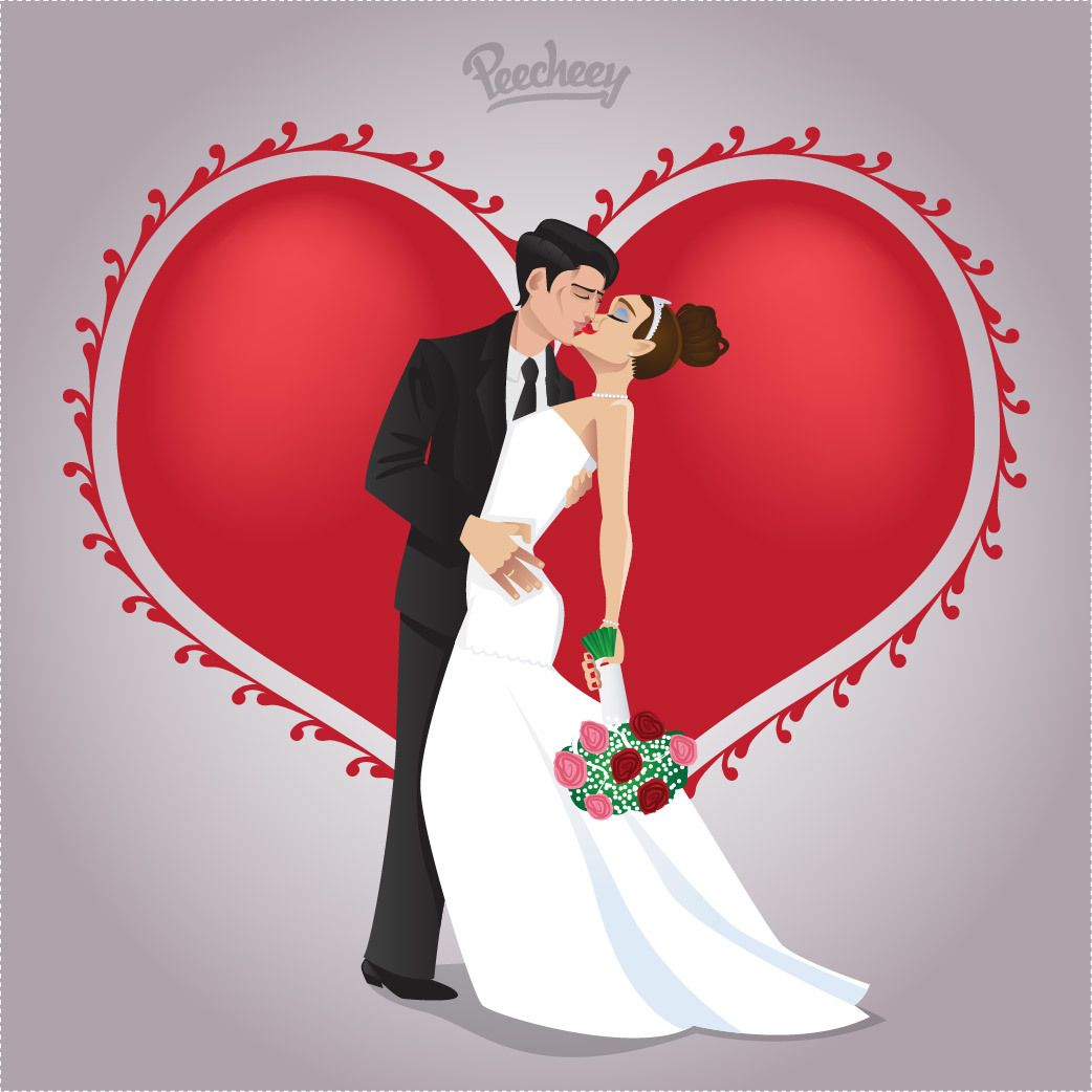 Kissing Wedding Couple in Love - Vector download