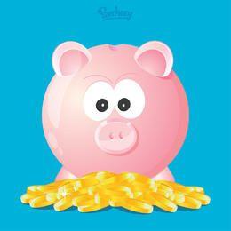 Monedas de oro Funky Piggy Bank