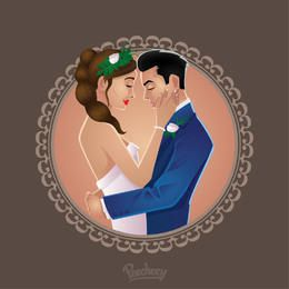 Happy Wedding Couple Circle Frame