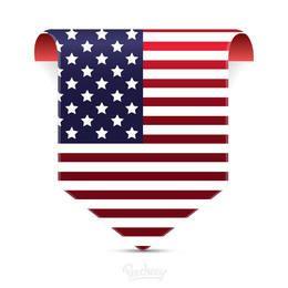 Etiqueta etiquetada bandera americana
