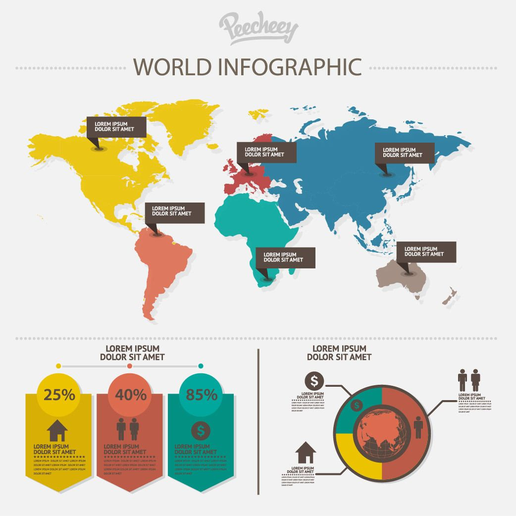 Communication World Map Infographic - Vector download