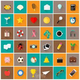 Férias planas e pacote de ícones de viagem