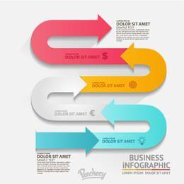 Snaky agitando colorido flecha infografía