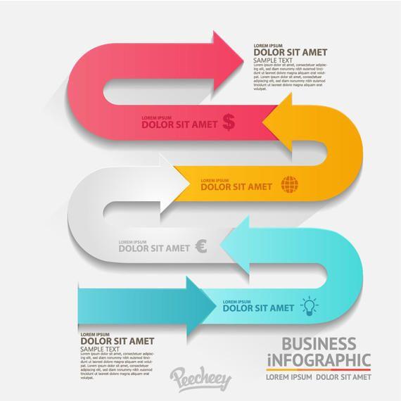 Snaky acenando colorido seta infográfico
