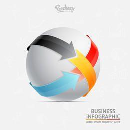 Flechas de colores envolviendo esfera