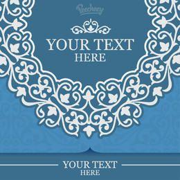 Cartão de convite Floral ornamentado azul