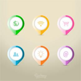 Check Pointer Icons Colorful Infographic