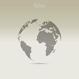 Globo 3D mapa pontilhado de pixel