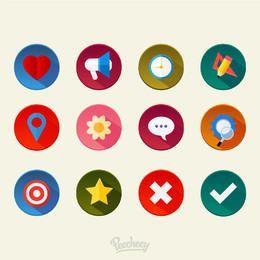 Conjunto de ícones diversos mínimo colorido