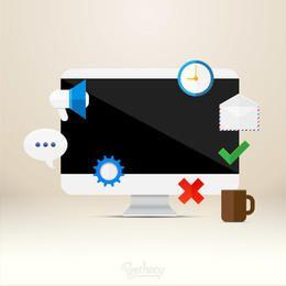 Varios iconos con monitor