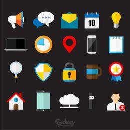 Conjunto de iconos de negocios plana brillante