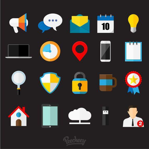 Glossy Flat Business Icon Set