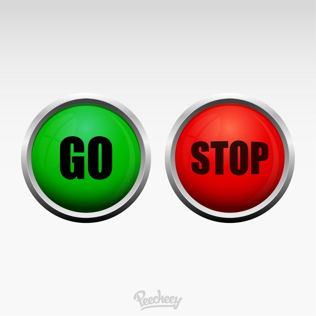Red green stop go buttons vector download - Green button ...