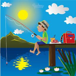 Boy Fishing on Lake Cartoon