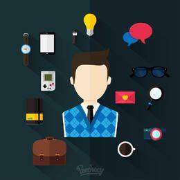 Mínimo conjunto de ícones diversos negócios
