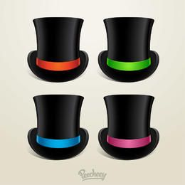 Cylinder Hat with 4 Colored Ribbons
