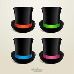 Sombrero de cilindro con 4 cintas de colores