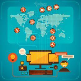 Infográfico Minimal de Comunicação Tecnológica