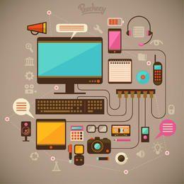 Paquete de dispositivos modernos de comunicación tecnológica