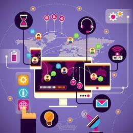 Infografía de comunicación moderna de alta tecnología