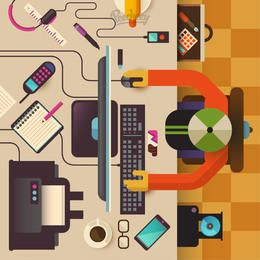 Empresario trabajando computadora escritorio