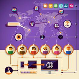 Infográfico de tecnologia de comunicação de rede