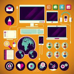 Pacote de ícones de tecnologia mínima