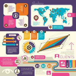Elemento de Design retrô colorido infográfico