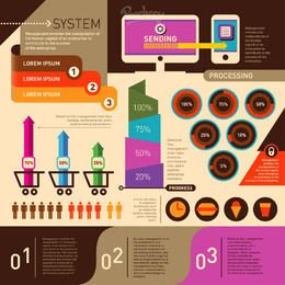 Infográfico colorido compras de comércio eletrônico