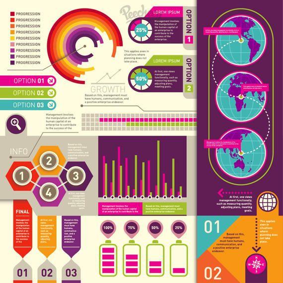 Colorido retro infografía plana conjunto