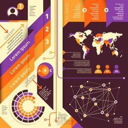 Conjunto de infografía moderno colorido abstracto