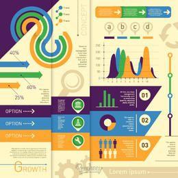 Infografía estadística mínima colorida