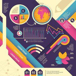 Bunte Weinlese abstraktes Infographic