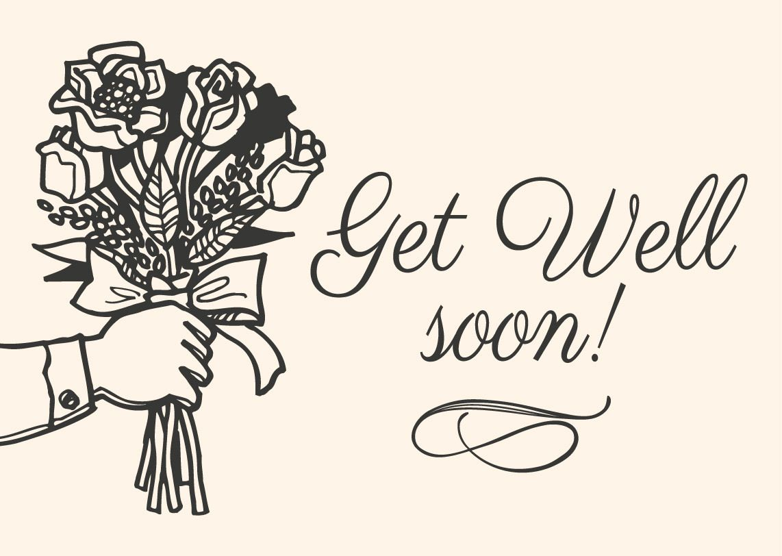 Get Well Soon Hand Drawn Card Vector Download