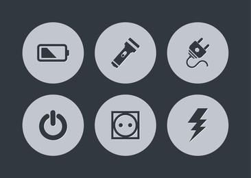 Simplistic Energy & Power Icon Circles