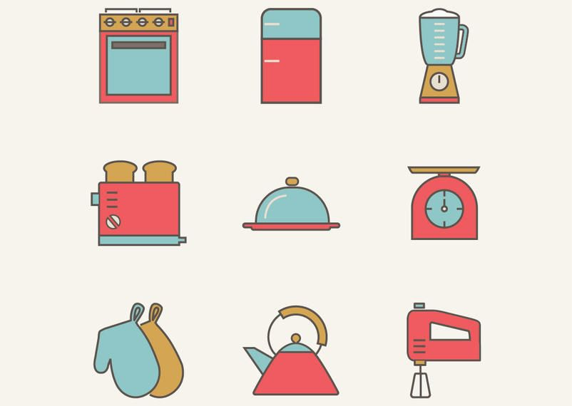Vintage plana utensilios de cocina paquete descargar vector for Utensilios de cocina vintage