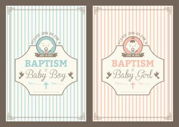 Vintage Baptism Invitation Cards