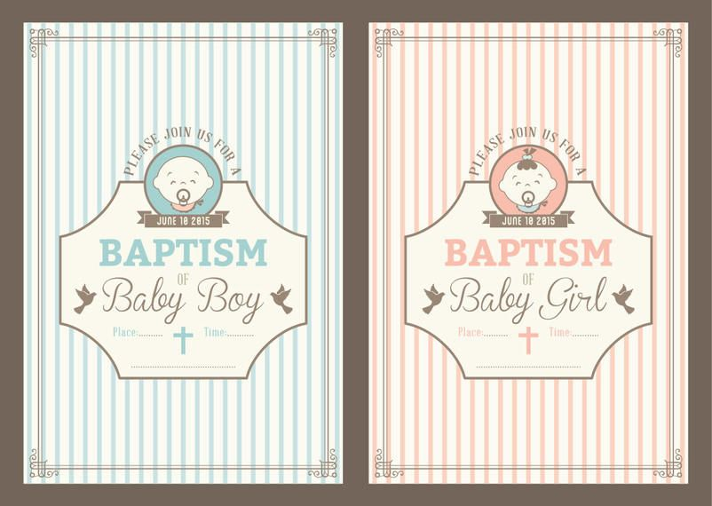 Vintage baptism invitation cards vector download vintage baptism invitation cards download large image stopboris Images