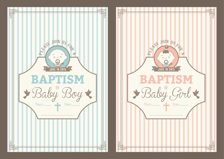 Invitación del bautismo del vintage Tarjetas - Descargar vector