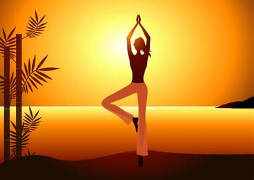 Yoga Woman Sunrise Background