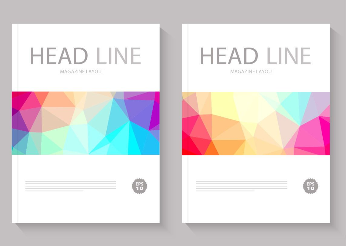 polygonal slider magazine cover layout vector download