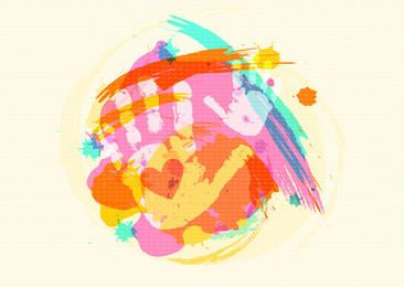 Colorful Child Handprints Watercolor Brushes