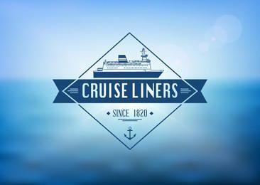 Cruise Liner Label Ocean Background