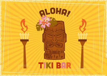Tiki Bar Retro Aloha Poster