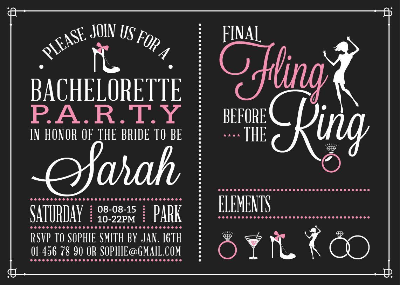 Bachelorette Vintage Party Invitation Design - Vector download